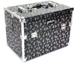 GEKO Vanity Case Silver / Black Flowers Accessories