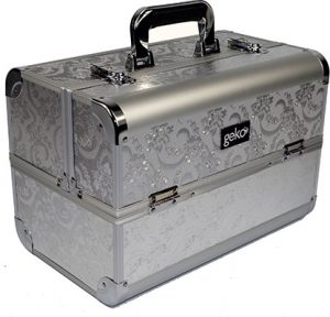GEKO Vanity Case Silver Leaf Design Accessories