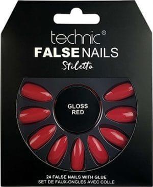 Technic  Stiletto Red Gloss False Nails Technic