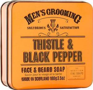 Scottish Fine Soaps  Thistle & Black Pepper Face & Beard Soap For Men