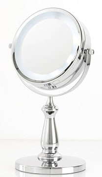 Danielle 15cm Double Sided Halo Light Pedestal Chrome Pedestal Mirror x 5 Mag Battery Accessories
